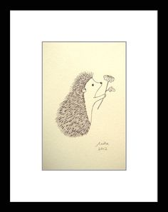 Original Ink Drawing Print Ivory Cute Hedgehog Flower by mikaart