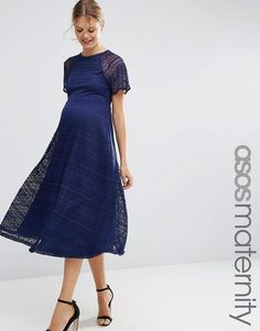 ASOS Maternity Midi Lace Dress with Flutter Sleeve