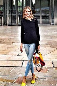 Olivia Palermo wearing Black Orchid Noah Jeans in Lovebug, Fendi Peekaboo Satchel and Schoshoes Suede Helene Loafers