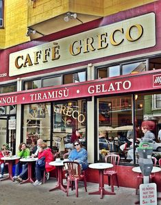 Cafe Grecco. One of our favorite places to stop into for a latte, some sidewalk cafe'ing, and a little people watching while in the City.