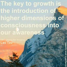 """""""The key to growth is the introduction of higher dimensions of consciousness into our awareness."""" ~Lao Tzu"""
