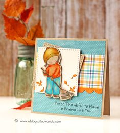 Wanda Guess: A Blog Called Wanda – My Favorite Things Stamps - Card Contest! Fall Cards! - 9/17/15.  (MFT stamps/dies-Pure Innocence Thanksful Friend; dies-Cross Stitched Squres.  (Pin#1: Fall/... Pin+: Friends).