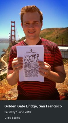 Craig Scales sent us his manifesto from near the Golden Gate Bridge in San Francisco.
