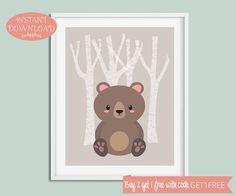 Nursery Wall Art, Nursery Printable, Minimalist Nursery, Woodland Nursery, Bear Wall Art, Modern Nursery, Scandinavian Nursery, Prints