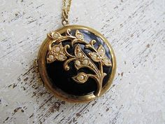 Antique Victorian Mourning Locket / Onyx and Seed Pearl  1880's