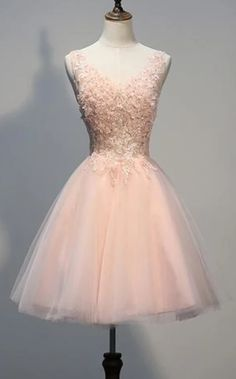 Apr 2020 - Short Open Back Pearl Pink Homecoming Dresses With Appliques Semi Dresses, Hoco Dresses, Pretty Dresses, 1950s Dresses, Pink Dresses, Prom Gowns, Vintage Dresses, Grade 8 Grad Dresses, School Dance Dresses