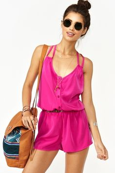 Button Up Romper - Magenta