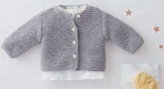 Entièrement tricoté au point mousse, ce modèle est réalisable même par les débutantes. Le cadeau idéal pour faire plaisir à une jeune maman. Tailles : a) naissance ; b) 3 mois ; c) 6 ...