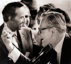 Vice President Nelson Rockefeller responds to hecklers