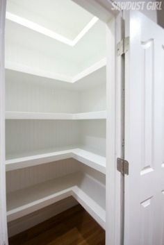 Hall Closet with Floating Shelves Pantry redo! with floating shelves Hall Closet with Floating Shelv Black Floating Shelves, Floating Shelves Bathroom, Rustic Floating Shelves, Pantry Shelving, Kitchen Shelves, Corner Shelves, Kitchen Pantry, Linen Closet Shelving, Diy Closet Shelves