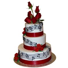 wedding cakes 3 tier round with ribbon and music note | 1324) 3 Tier musical themed cake with red roses