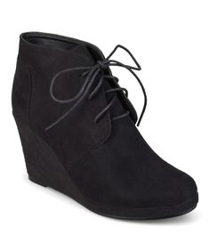 Another great find on #zulily! Black Exit Wedge Bootie by Brinley Co. #zulilyfinds