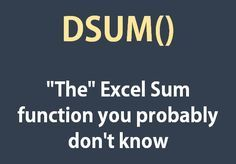 You must have learnt SUM in your early days of Excel and later might have learnt about nested IF statements to do conditional sum and you might have already learnt about SUMIF and SUMIFS. But there are situations when you can have nervous breakdown trying Computer Help, Computer Technology, Computer Programming, Computer Tips, Technology Tools, Computer Hacking, Slow Computer, Computer Class, Business Technology