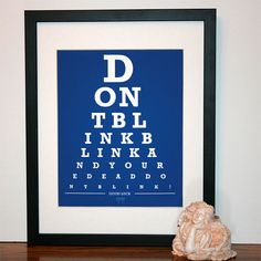 """Don't Blink #DoctorWho eye chart. I like the design, although I bristle every time I get to the end of the sixth line and think I'm reading the wrong """"your."""" $12"""