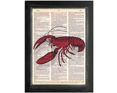 Mr Lobster - Printed on Vintage Dictionary Paper - 8x10.5. $10.00, via Etsy.