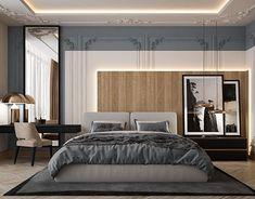 Omar Maghrabi on Behance Modern Luxury Bedroom, Master Bedroom Interior, Modern Master Bedroom, Modern Bedroom Design, Contemporary Interior Design, Home Room Design, Contemporary Bedroom, Luxurious Bedrooms, Bed Design