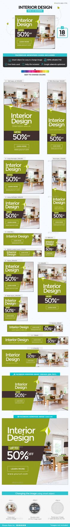 Interior Banners Ads Design Template - Banners & Ads Web Elements Design Template PSD. Download here: https://graphicriver.net/item/interior-banners/18921444?ref=yinkira