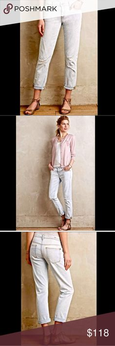 """Anthropologie bleached out & destroyed Jeans"""" 29 Anthropologie / Pilcro Hyphen Relaxed bleached out & destroyed """"Hyphen Relaxed Jeans""""  distressed, bleached and holey light wash jeans on a relaxed boyfriend silhouette   Five-pocket styling            New Without Tags  *  Size:  29  * there is a black line through the tag to prevent store return                            91% cotton * 7% poly * 2% elastane   Machine wash  measures: 36"""" around top opening 40"""" hips 9.5"""" rise 31"""" inseam 14""""…"""
