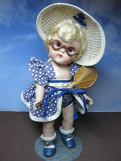 Vintage Vogue Ginny 1952 Beach Doll from the Sports Series, Orig. Glasses Fan Hard to Find All Original