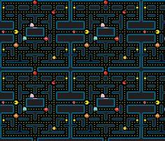 Pacman Retro Video Game Pattern fabric by khaus on Spoonflower - custom fabric