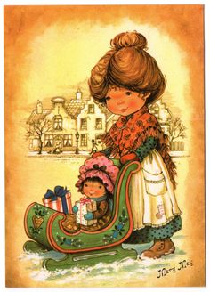 Sarah Kay, Holly Hobbie, Christmas Scenes, Christmas Art, Christmas Classics, Old Postcards, Photo Postcards, Precious Moments, Mary May