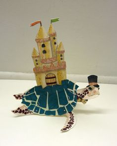 DIY Printable PDF Sea Turtle Paper Puppet & Sand Castle Card, Cute Animals, For Kids, Green, Yellow
