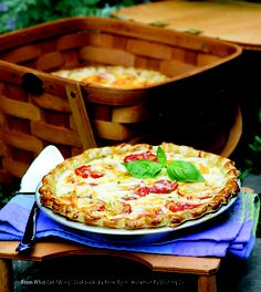 """Fresh Tomato Pie recipe from Ann Byrn's """"What Can I Bring?"""" is so simple and great. I used a refrigerated pie crust and it was yummy. Veggie Recipes, Vegetarian Recipes, Yummy Recipes, Southern Tomato Pie, Cake Mix Doctor, Good Food, Yummy Food, Fall Breakfast, One Pan Meals"""