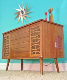 Zenith Stereo Console Speakers Receiver Turntable All