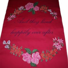 Wedding Aisle Runner, Tropical flowers on hot pink aisle runner by www.artfulcelebrations.com