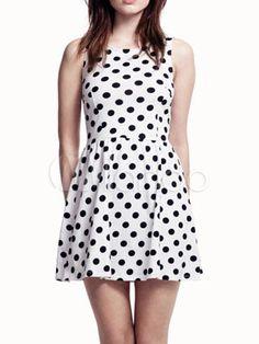 HDY Haoduoyi Dot Print Fashion Mini Dress O-neck Sleeveless High Waist A-line Dress Sweet Pleated Basic Casual Dress Vestidos Dot Dress, Ruffle Dress, Chiffon Dress, Cute Dresses, Cute Outfits, Ladies Dresses, Inspiration Mode, Mini Vestidos, White V Necks