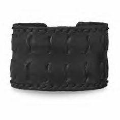 Black Leather Weave Design Cuff Bracelet