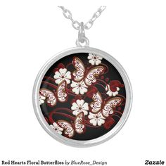 Red Hearts Floral Butterflies Silver Plated Necklace Red Hearts, Black Felt, Colorful Backgrounds, Silver Plate, Butterflies, Plating, Sterling Silver, Floral, Butterfly