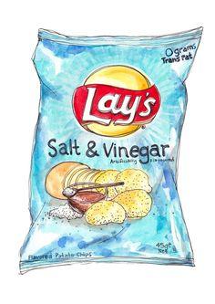 Image of Lay's Salt & Vinegar Chips Food Stickers, Cute Stickers, Kawaii Drawings, Cute Drawings, Food Illustrations, Illustration Art, Images Kawaii, Food Sketch, Watercolor Food
