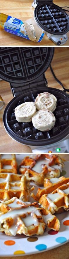 Make cinnamon rolls in the waffle maker, the quickest way to quell your morning sweet tooth! Desserts Sucrés, Dessert Recipes, Drink Recipes, Tasty, Yummy Food, Delicious Recipes, Yummy Treats, Easy Recipes, Nutela