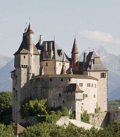 The Château de Menthon is a medieval castle located in the commune of Menthon-Saint-Bernard, 12 kilometres  south of Annecy in the Haute-Savoie department of France....   http://www.castlesandmanorhouses.com/photos.htm