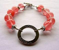 Cherry Quartz Beaded Bracelet with Passion Charm by KJsKollection, $25.00