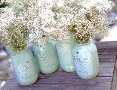 Robin Egg Blue Mason Jars for Shabby Chic Weddings / Distressed Paint Glass Jar Wedding Decoration / Wedding Centerpiece in Robins Egg Blue on Etsy, $40.00