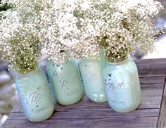 Robin Egg Blue Mason Jars for Shabby Chic Weddings / Distressed Paint Glass Jar Wedding Decoration / Wedding Centerpiece in Robins Egg Blue on Etsy, $40.00
