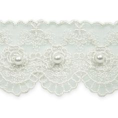 """1 5/8"""" Vintage Roses with Pearl Lace Trim White from @fabricdotcom  This vintage lace trim features pearl beads and measures 1-5/8'' at the widest point. This beautiful scalloped trim is perfect for bridal gowns and accessories, fashion apparel, and home decor accents. Package contains 1 yard."""