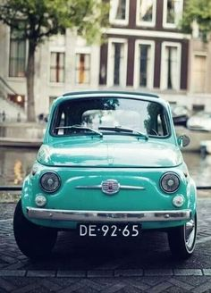 Turquoise/ Fiat 500 - the colour I had. Loved this little car during my 5 years living on the Greek Island of Corfu! Retro Cars, Vintage Cars, Retro Vintage, My Dream Car, Dream Cars, Dream Life, Fiat 126, Cute Cars, Small Cars