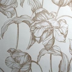 This stunning large scale floral tulip has a hand drawn linear finish in an ultra stylish white and gold colour palette #grahamandbrown