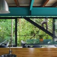 Turquoise painted steel: Iporanga House by Nitsche Arquitetos Associados, Brazil.