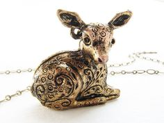 Deer fawn sold perfume locket necklace    If youve been looking for a trophy piece to up the ante of your vintage outfits, then your hunt is over!