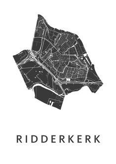 Ridderkerk White City Map is een moderne kaart van Ridderkerk , verkrijgbaar in 12 stijlen! v.a. € 19.95 - € 49.95!