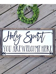 Holy Spirit you are welcome here, farmhouse sign, distressed sign, rustic scripture sign, framed woo Painted Signs, Wooden Signs, Wooden Diy, Farmhouse Signs, Farmhouse Decor, Farmhouse Table, Scripture Signs, Scripture Crafts, Bible Verses