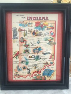 A personal favorite from my Etsy shop https://www.etsy.com/listing/516074025/8-x-10-framed-vintage-indiana-map