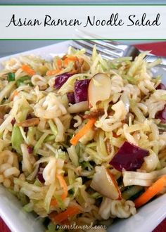 This Asian Noodle salad takes 20 minutes to whip together and can be made the night before.  Easy and quick! @numstheword