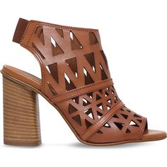 Carvela Kupid leather heeled sandals ($130) ❤ liked on Polyvore featuring shoes, sandals, tan strappy sandals, tan gladiator sandals, strappy gladiator sandals, leather sandals and gladiator sandals