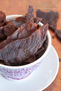 I use it as a snack. I love this homemade beef jerky recipe from Against All Grain. Steak, coconut aminos, liquid smoke and spices. Easy, yummy and nutritious snack! Jerky Recipes, Paleo Recipes, Whole Food Recipes, Snack Recipes, Cooking Recipes, Coconut Recipes, Homemade Beef Jerky, Paleo Jerky, Whole30 Beef Jerky Recipe