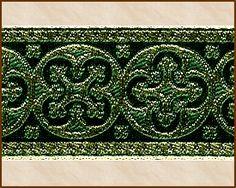 Criss Cross, 1-5/8 inch, Gold - Dark Green, Jacquard Ribbon Fabric Trim